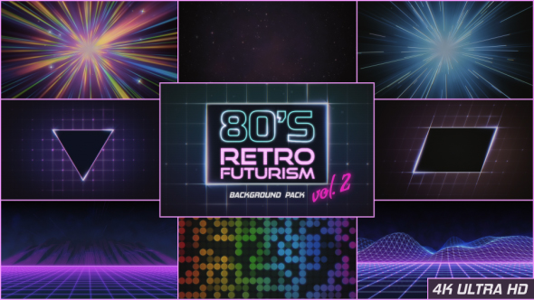 9 backgrounds in 80's retro futurism style.