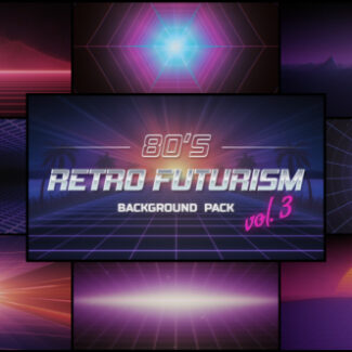 9 backgrounds in 80's retro futurism style