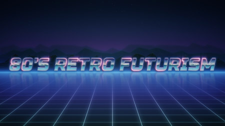 Animated backgrounds in 80's retro futurism style.