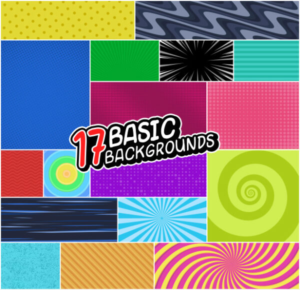 17 basic backgrounds in comics style.