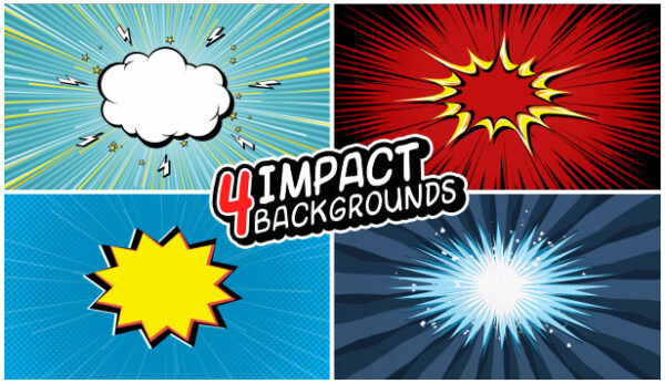 4 impact backgrounds in comics style