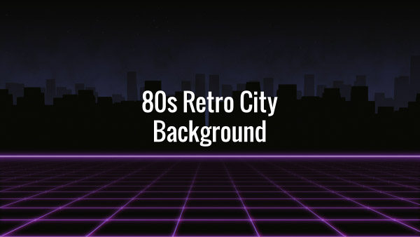 Horizontal slide of retro futuristic pink grid and dark buildings in the background
