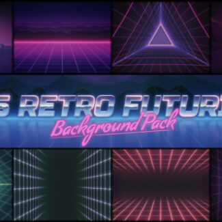9 animated backgrounds in 80's retro futurism style.
