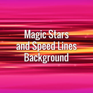 Fast-moving horizontal motion lines with shining stars in anime style on pink background.