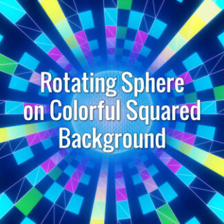 Teal, yellow and pink squares rotating around a particular sphere.