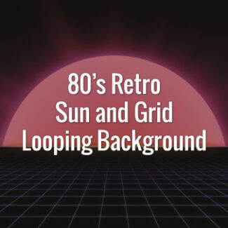 Bright sun and dark slowly moving grid in 80s retro futuristic style.