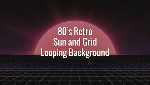 Bright sun and dark slowly moving grid in 80s retro futuristic style.