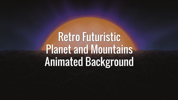 Distant planet and dark slowly moving mountains in 80s retro futuristic style. Seamlessly looping animated backdrop.