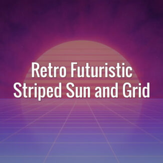 Striped sun and violet reflective animated grid in 80s retro futuristic style. Seamlessly loopable animated backdrop.