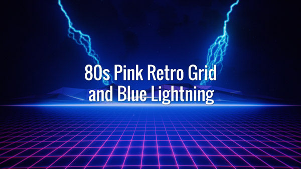 Seamlessly looping 80s style blue retrowave landscape and distant lightnings animated backdrop