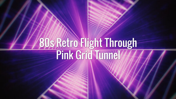 Seamlessly looping retrowave pink grid tunnel in space animated backdrop