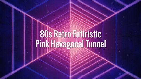 Seamlessly looping glowing purple polygonal retrowave tunnel backdrop