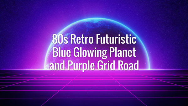 Seamlessly looping retrowave dark pink grid and blue shining planet backdrop