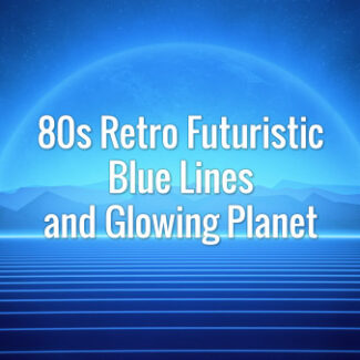 80s Retro Futuristic Blue Lines and Glowing Planet