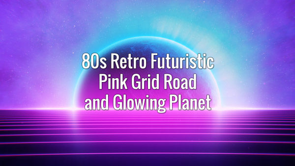Seamlessly looping retrowave purple shining grid and distant planet backdrop