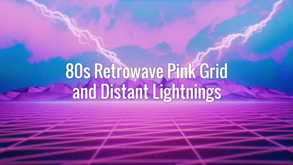 Seamlessly looping 80s style pink retro landscape and distant lightnings animated backdrop