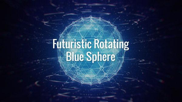 Seamlessly looping cyan glowing hi-tech plexus globe and white rotating lines on dark blue background