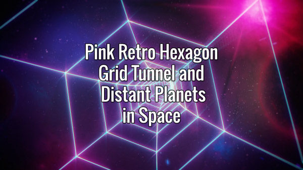 Seamlessly looping rotating hexagonal grid tunnel and distant planets in space animated backdrop