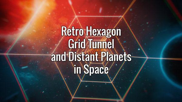 Seamlessly looping hexagonal grid tunnel and distant planets in space animated backdrop