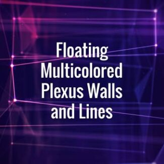 Seamlessly looping floating blue and pink walls, which consists of lines, triangles and particles with bokeh. Animated background.