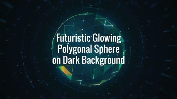 Seamlessly looping multicolored glowing hi-tech plexus globe and rotating lines on dark background
