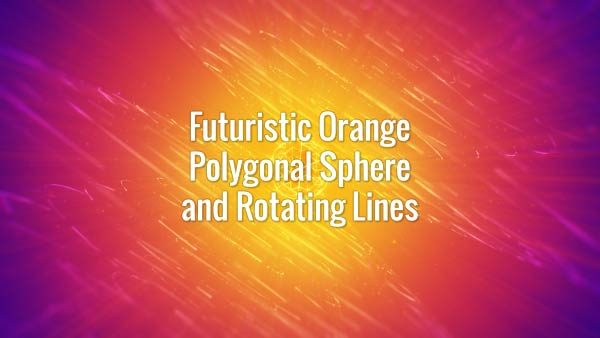 Seamlessly looping yellow glowing hi-tech plexus globe and rotating lines on orange and purple background.