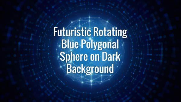 Seamlessly looping blue glowing hi-tech plexus globe and rotating lines on dark background.