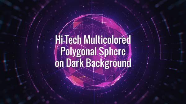Seamlessly looping neon VJ glowing futuristic plexus globe and rotating lines on dark background