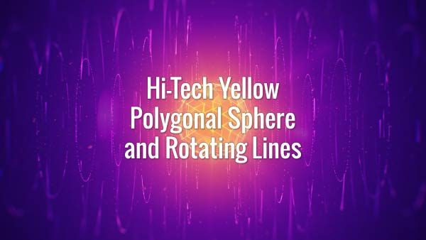 Futuristic seamlessly loopable yellow globe and rotating lines animated background.