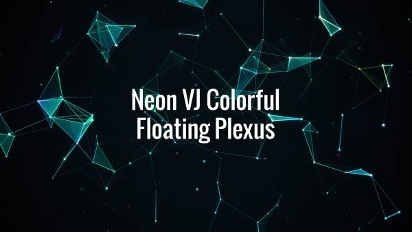 Seamlessly looping floating colorful neon VJ lines, triangles and particles. Animated background.