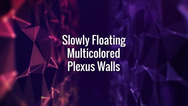Seamlessly looping floating purple and blue wall, which consists of lines, triangles and particles with bokeh. Animated background.