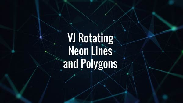 Seamlessly looping rotating neon lines, triangles and particles. Animated backdrop.