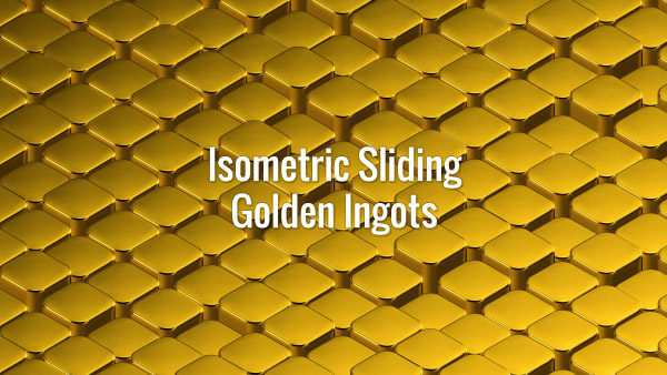 Seamlessly looping isometric oscilating golden cubes moving from top-left to bottom-right corner. Animated background.