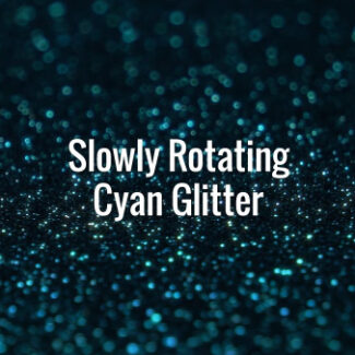 Seamlessly looping spinning shiny blue glitter particles on dark surface.