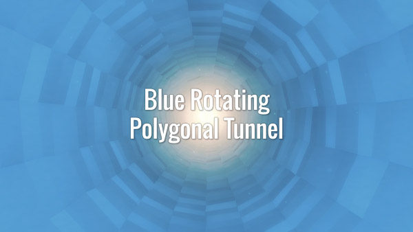 Seamlessly looping blue rotating polygonal tunnel. Animated background.