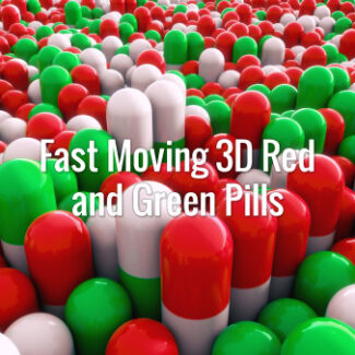 Seamlessly looping oscillating 3d red and green pills sliding from top left to bottom right. Animated background.