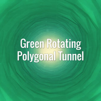 Seamlessly looping green rotating polygonal tunnel. Animated background.