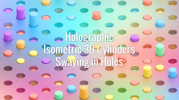 Seamlessly looping isometric oscillating 3d multicolored cylinders on holographic surface. Animated background.
