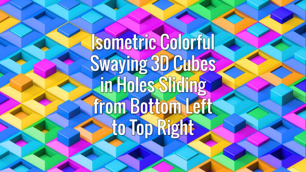 Seamlessly looping multicolored cubes oscillating in holes sliding from bottom left to top right. Animated background.