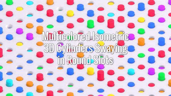 Seamlessly looping isometric oscilating 3d colorful cylinders on white surface. Animated background.