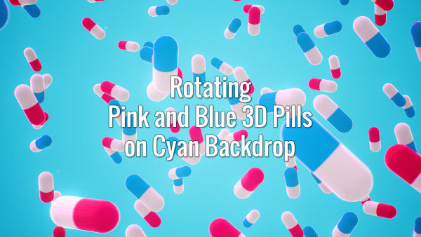 Seamlessly looping rotating blue and pink 3d pills on cyan backdrop. Animated background.