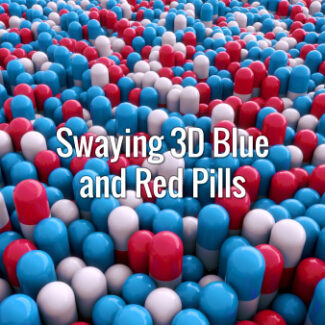 Seamlessly looping oscillating 3d blue and red pills. Animated background.