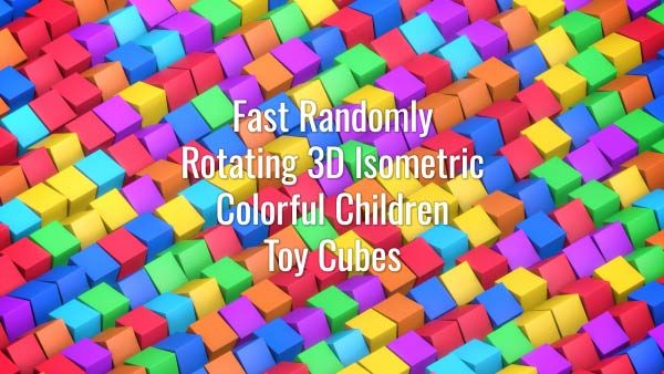 Seamlessly looping rotating 3D multicolored squares. Animated background.