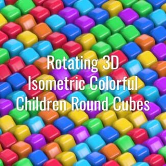 Seamlessly looping rotating 3D multicolored round squares. Animated background.