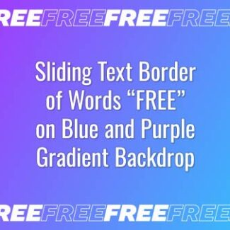 "Seamlessly looping border of multiple words ""FREE"" on purple and blue gradient backdrop. Animated background."
