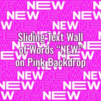 "Seamlessly looping multiple copies of animated word ""NEW"" on pink backdrop. Animated background."