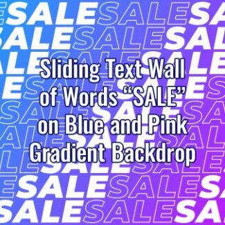 "Seamlessly looping multiple lines of word ""SALE"" on gradient pink and blue gradient backdrop. Animated background."
