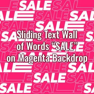 "Seamlessly looping multiple copies of animated word ""SALE"" on pink backdrop. Animated background."